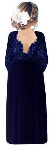 2BUNNIES Girl Peony Lace Back Long Sleeve Maxi Straight Dress (All Navy)