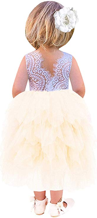 2BUNNIES Girl Peony Lace Back (BEADED) 5 Tiered Sleeveless Maxi Dress (Ivory)