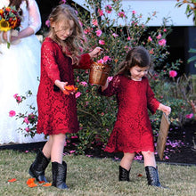 2BUNNIES Girl Boho Lace Flower Girl Dress (Wine Red)