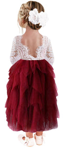 2BUNNIES Girl Peony Lace Back 5 Tiered Long Sleeve Maxi Dress (Wine Red)