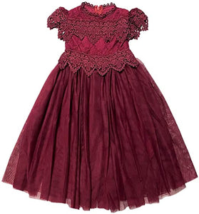 2BUNNIES Girl Communion Lace Cap Sleeve Maxi Straight Dress (Burgundy)