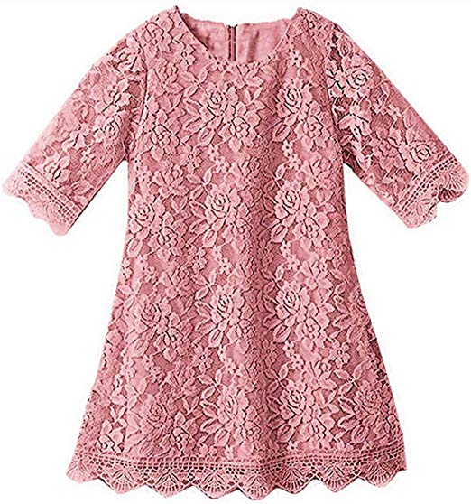 2BUNNIES Girl Boho Lace Flower Girl Dress (Dusty Pink)