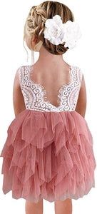2BUNNIES Girl Peony Lace Back 3 Tiered Sleeveless Knee Length Dress (Dusty Pink)