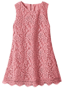 2BUNNIES Girl Boho Lace Flower Girl Dress Sleeveless (Dusty Pink)