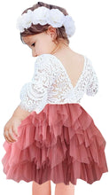 2BUNNIES Girl Peony Lace Back 3 Tiered Bell Sleeve Dress (Dusty Pink)