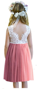 2BUNNIES Girl Rose Lace Back Sleeveless Knee Straight Dress (Dusty Pink)