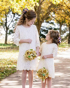 2BUNNIES Girl Boho Lace Flower Girl Dress (Ivory)