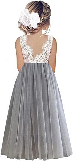 2BUNNIES Girl Peony Lace Back Sleeveless Maxi Straight Dress (Light Gray)