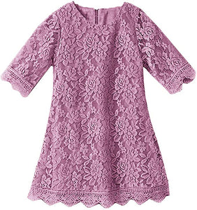 2BUNNIES Girl Boho Lace Flower Girl Dress (Mauve)