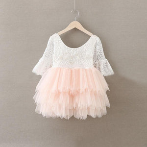 2BUNNIES Girl Peony Lace Back (BEADED) 3 Tiered Bell Sleeve Dress (Pink)
