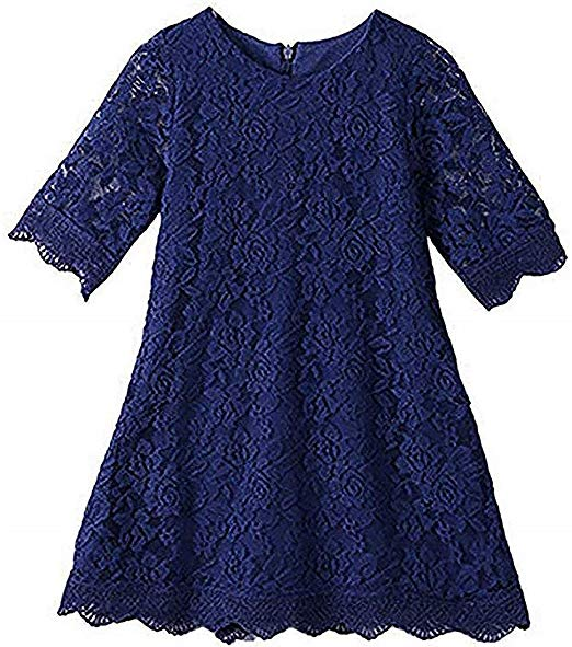 2BUNNIES Girl Boho Lace Flower Girl Dress (Navy)