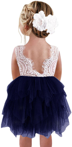 2BUNNIES Girl Peony Lace Back 3 Tiered Sleeveless Knee Length Dress (Navy Blue)
