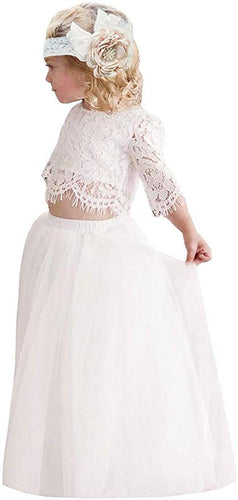 2BUNNIES Girl Dress Set Scallop Lace Long Sleeve Maxi Straight (White)