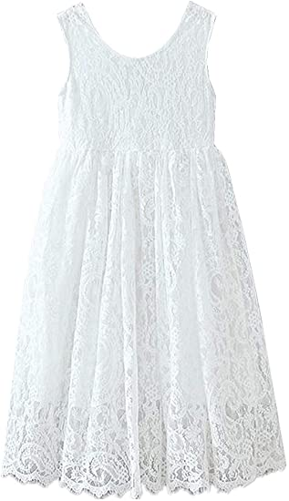 2BUNNIES Girl Paisley All Lace Sleeveless Maxi Straight Dress (White)