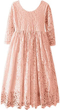 2BUNNIES Girl Paisley All Lace Long Sleeve Maxi Straight Dress (Dusty Pink)