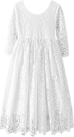 2BUNNIES Girl Paisley All Lace Long Sleeve Maxi Straight Dress (White)