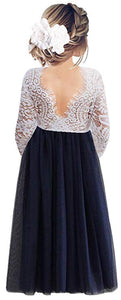 2BUNNIES Girl Peony Lace Back Long Sleeve Maxi Straight Dress (Navy)