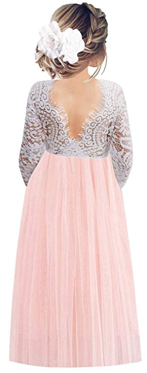 2BUNNIES Girl Peony Lace Back Long Sleeve Maxi Straight Dress (Pink)