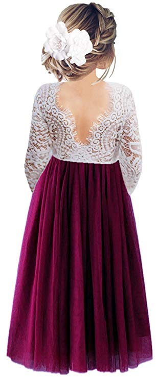 2BUNNIES Girl Peony Lace Back Long Sleeve Maxi Straight Dress (Plum)
