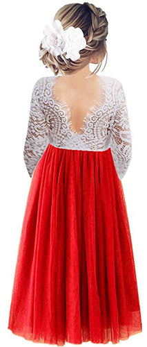 2BUNNIES Girl Peony Lace Back Long Sleeve Maxi Straight Dress (Red)