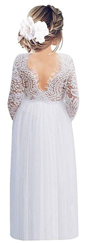 2BUNNIES Girl Peony Lace Back Long Sleeve Maxi Straight Dress (White)