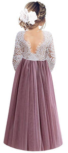 2BUNNIES Girl Peony Lace Back Long Sleeve Maxi Straight Dress (Mauve)