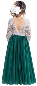2BUNNIES Girl Peony Lace Back Long Sleeve Maxi Straight Dress (Green)