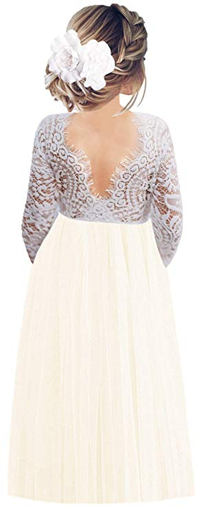 2BUNNIES Girl Peony Lace Back Long Sleeve Maxi Straight Dress (Ivory)