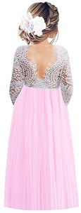 2BUNNIES Girl Peony Lace Back Long Sleeve Maxi Straight Dress (Candy Pink)