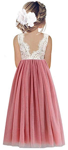 2BUNNIES Girl Peony Lace Back Sleeveless Maxi Straight Dress (Dusty Pink)