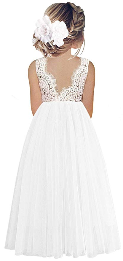 2BUNNIES Girl Peony Lace Back Sleeveless Maxi Straight Dress (White)