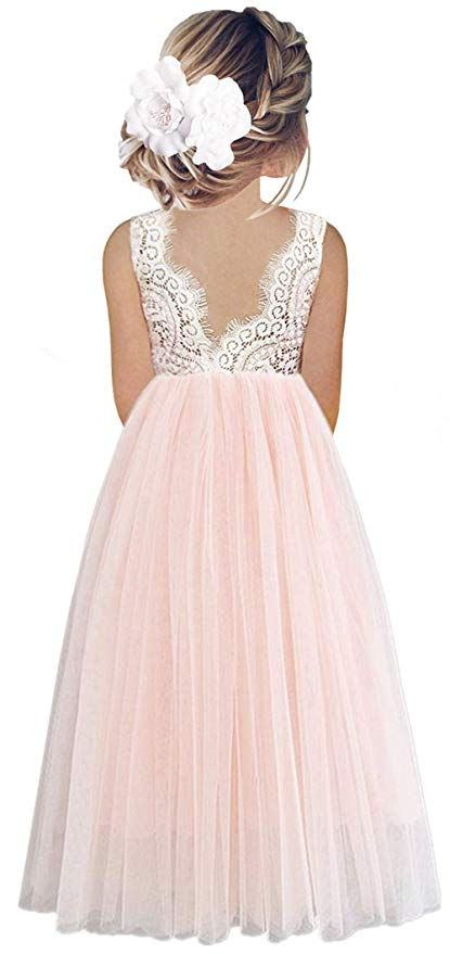 2BUNNIES Girl Peony Lace Back Sleeveless Maxi Straight Dress (Pink)
