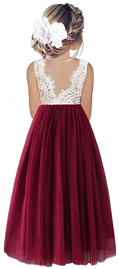 2BUNNIES Girl Peony Lace Back Sleeveless Maxi Straight Dress (Burgundy)