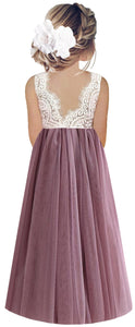 2BUNNIES Girl Peony Lace Back Sleeveless Maxi Straight Dress (Mauve)