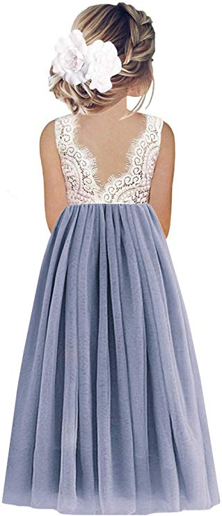 2BUNNIES Girl Peony Lace Back Sleeveless Maxi Straight Dress (Bluish Gray)