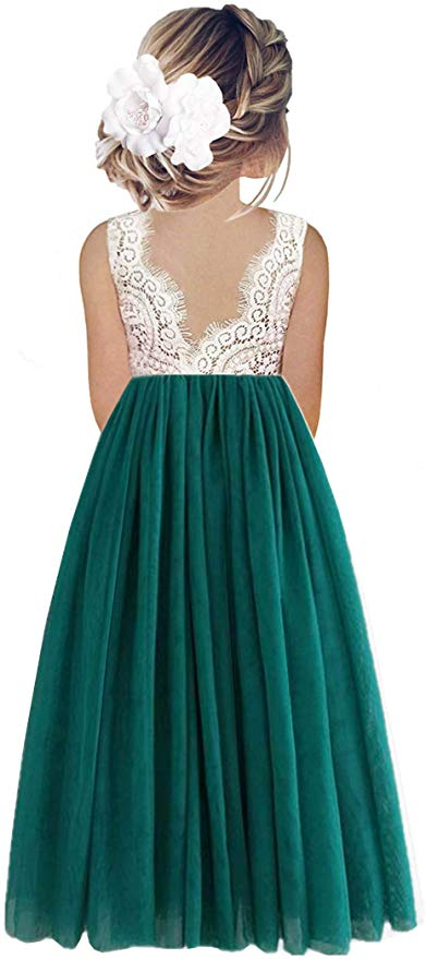 2BUNNIES Girl Peony Lace Back Sleeveless Maxi Straight Dress (Green)