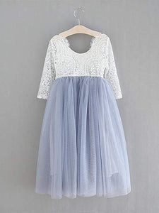 2BUNNIES Girl Peony Lace Back Long Sleeve Maxi Straight Dress (Bluish Gray)