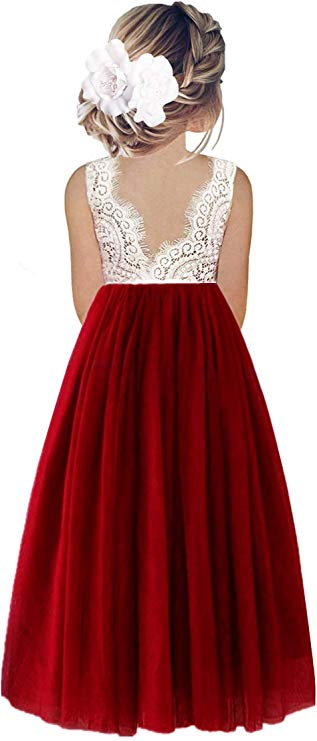 2BUNNIES Girl Peony Lace Back Sleeveless Maxi Straight Dress (Wine Red)