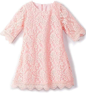 2BUNNIES Girl Boho Lace Flower Girl Dress (Pink)