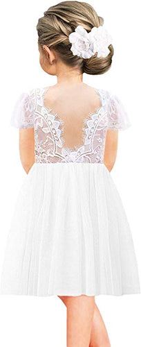 2BUNNIES Girl Rose Lace Back Short Sleeve Knee Straight Dress (White)