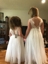 2BUNNIES Girl Rose Lace Back Sleeveless Maxi Straight Dress (White)