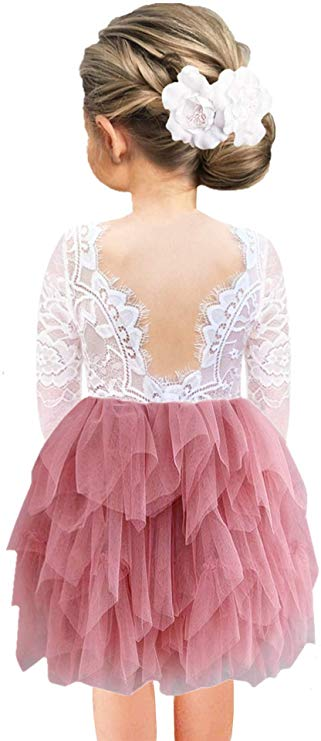 2BUNNIES Girl Rose Lace Back 3 Tiered Long Sleeve Dress (Dusty Pink)