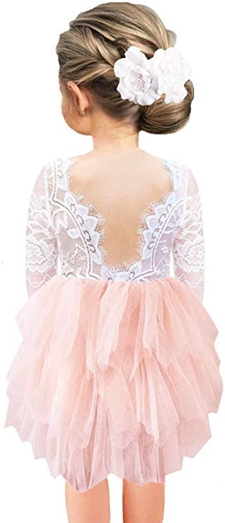 2BUNNIES Girl Rose Lace Back 3 Tiered Long Sleeve Dress (Pink)
