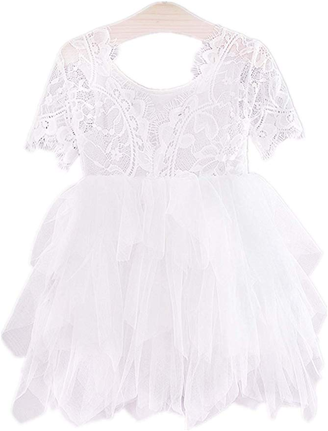 2BUNNIES Girl Rose Lace Back 3 Tiered Short Sleeve Dress (White)