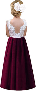 2BUNNIES Girl Rose Lace Back Sleeveless Maxi Straight Dress (Wine Red)