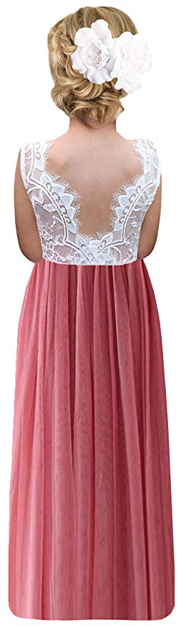 2BUNNIES Girl Rose Lace Back Sleeveless Maxi Straight Dress (Dusty Pink)