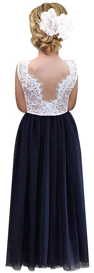 2BUNNIES Girl Rose Lace Back Sleeveless Maxi Straight Dress (Navy)