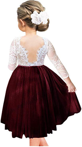 2BUNNIES Girl Rose Lace Back Long Sleeve Knee Length Straight Dress (Burgundy)