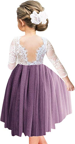 2BUNNIES Girl Rose Lace Back Long Sleeve Knee Length Straight Dress (Mauve)