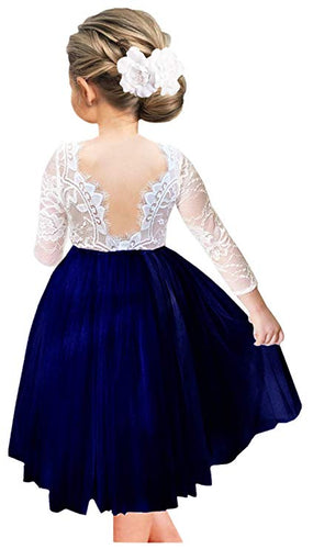 2BUNNIES Girl Rose Lace Back Long Sleeve Knee Length Straight Dress (Navy)